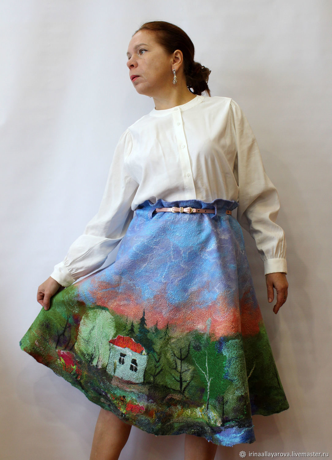 Felted skirt 'Summer landscape' on silk!, Skirts, Verhneuralsk,  Фото №1