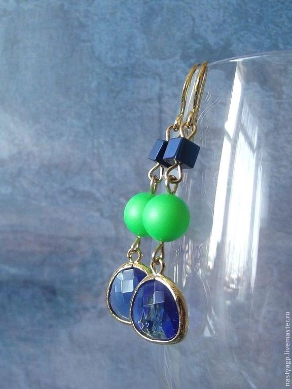 earrings, blue earrings, long earrings, buy earrings, summer earrings, jewelry, jewelry,earrings to buy as a gift, earrings gold plated, gift for friend, jewelry, jewelry earrings