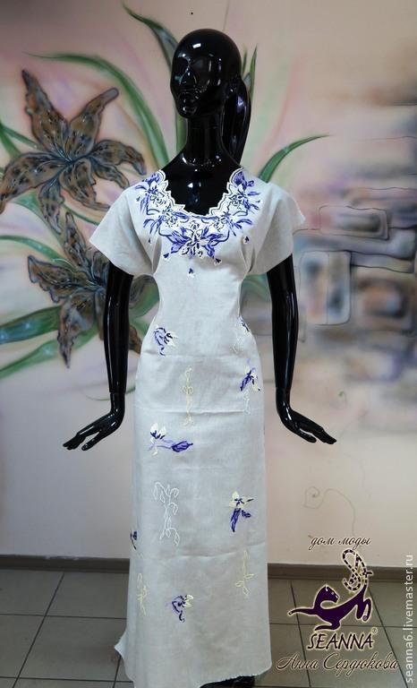 """Платья ручной работы. Ярмарка Мастеров - ручная работа. Купить Платье льняное с вышивкой на любой размер """"Шелковые ирисы на льне"""". Handmade."""