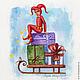 """Открытки к Новому году ручной работы. Открытки """"Новогодние Арлекины"""". Елизавета Мелентьева (m.e.l.). Интернет-магазин Ярмарка Мастеров."""