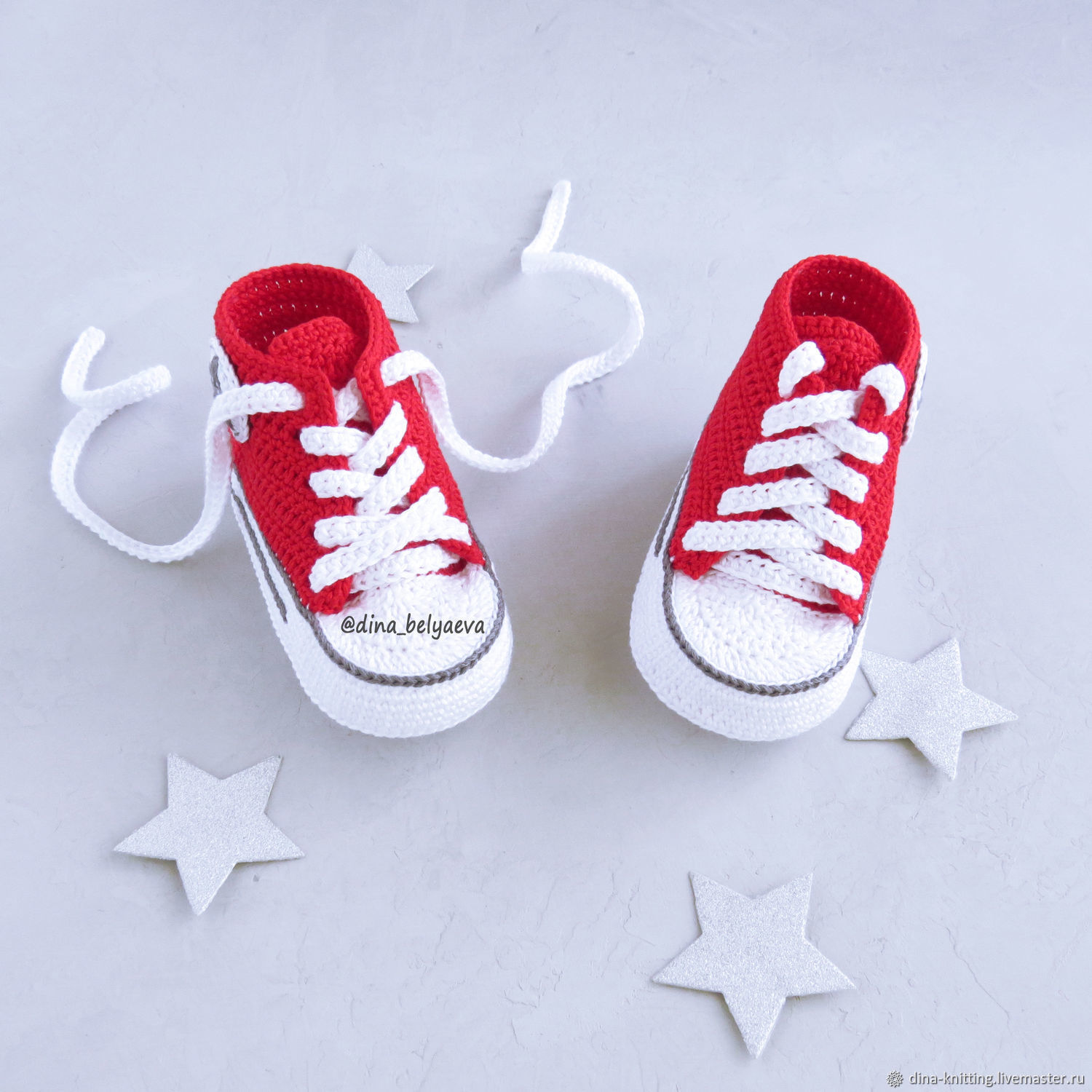 Red booties shoes, knitted baby converse gift at the birth of, Footwear for children, Cheboksary,  Фото №1