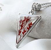 Украшения handmade. Livemaster - original item Triangular earrings and pendant with red flowers from jewelry resin. Handmade.