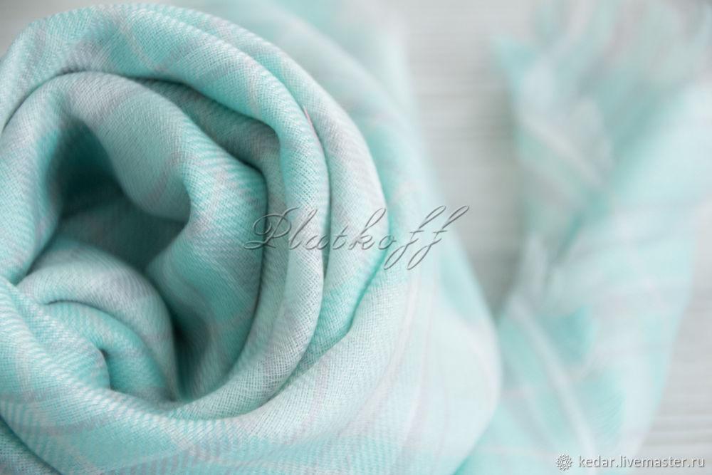 Шали, палантины ручной работы. Ярмарка Мастеров - ручная работа. Купить Мятный платок в клетку 'Casual'. Handmade. Платок