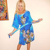 Одежда ручной работы. Ярмарка Мастеров - ручная работа платье-кимоно- Белые пионы. Handmade.