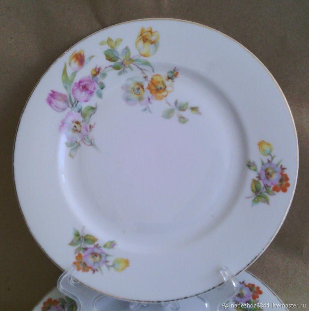1940s. Plates 20 cm 6 pieces. Bohemia, Vintage plates, Moscow,  Фото №1