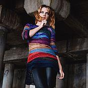 """Одежда ручной работы. Ярмарка Мастеров - ручная работа Пуловер """"Каменья драгоценные"""" спицами из хлопка с вискозой. Handmade."""