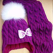 Работы для детей, ручной работы. Ярмарка Мастеров - ручная работа Комплект для девочки шапка+шарф. Handmade.
