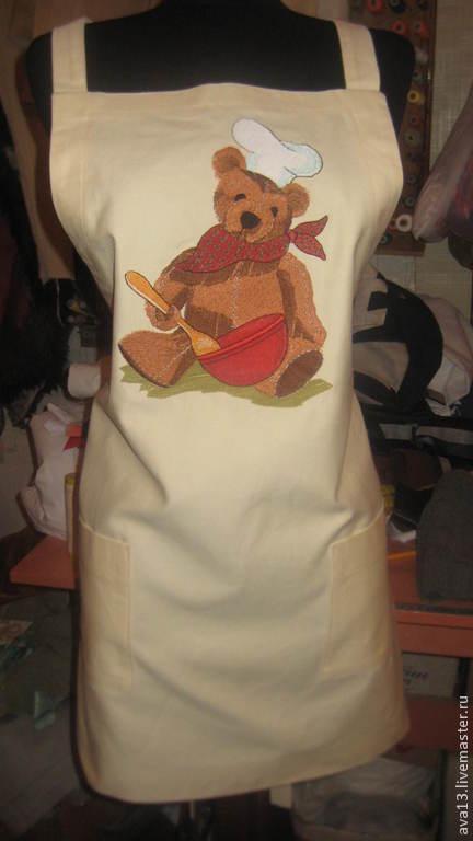 Кухня ручной работы. Ярмарка Мастеров - ручная работа. Купить Фартук. Handmade. Бежевый, песочный, фартук с вышивкой, подарок женщине