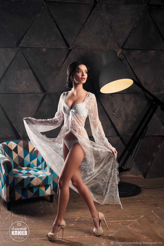 Халатик невесты кружевной. Lace robe for brides, Пеньюары и белье, Москва,  Фото №1