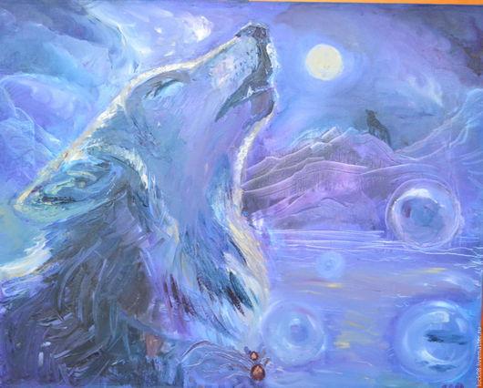 """Животные ручной работы. Ярмарка Мастеров - ручная работа. Купить """"Завораживающая луна"""". Handmade. Картина в подарок, картина маслом купить"""