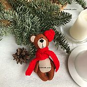 Куклы и игрушки handmade. Livemaster - original item New year Teddy bear in red scarf. Handmade.