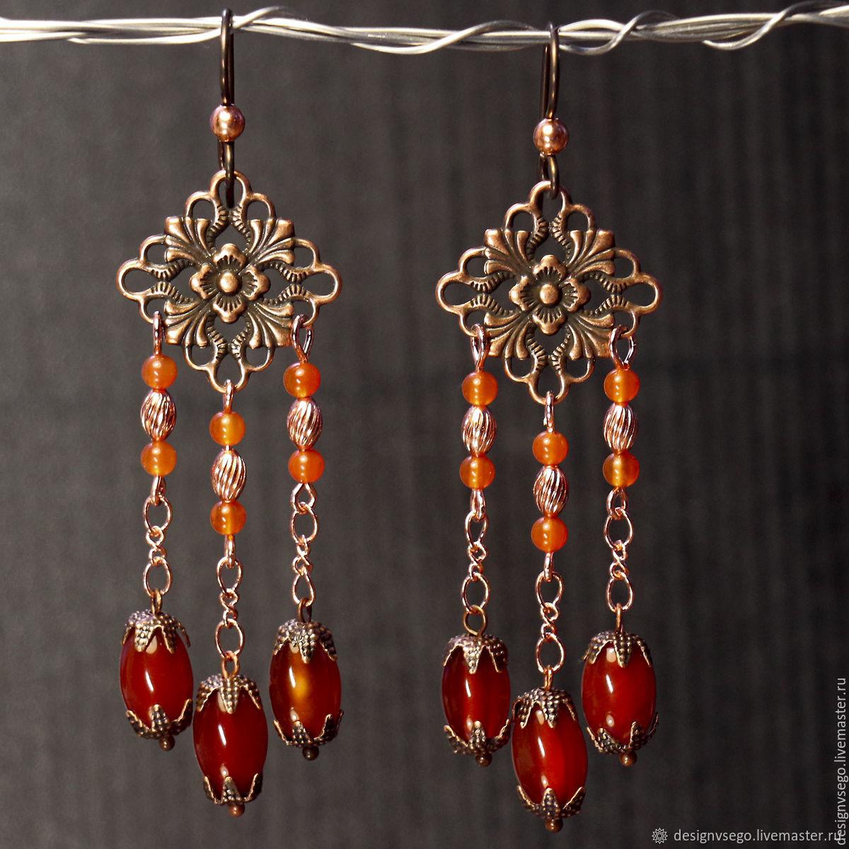 Elegant carnelian earrings, Earrings, Moscow,  Фото №1