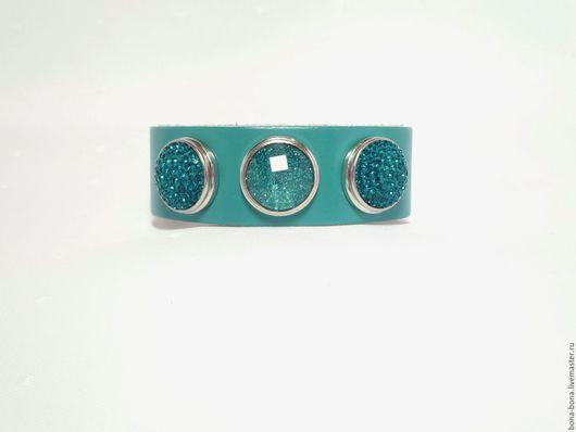 """Браслеты ручной работы. Ярмарка Мастеров - ручная работа. Купить Кожаный браслет """"Turquoise glitter"""". Handmade. Тёмно-бирюзовый"""