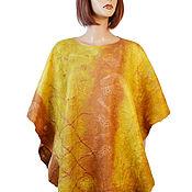 handmade. Livemaster - original item Hand-felted Merino wool poncho