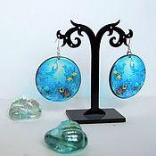 Украшения handmade. Livemaster - original item Transparent Earrings Round Underwater World Sea Bottom Ocean, Lagoon Aqua. Handmade.