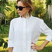 Одежда handmade. Livemaster - original item Shirt dress, linen cotton, cotton-sewing. Handmade.