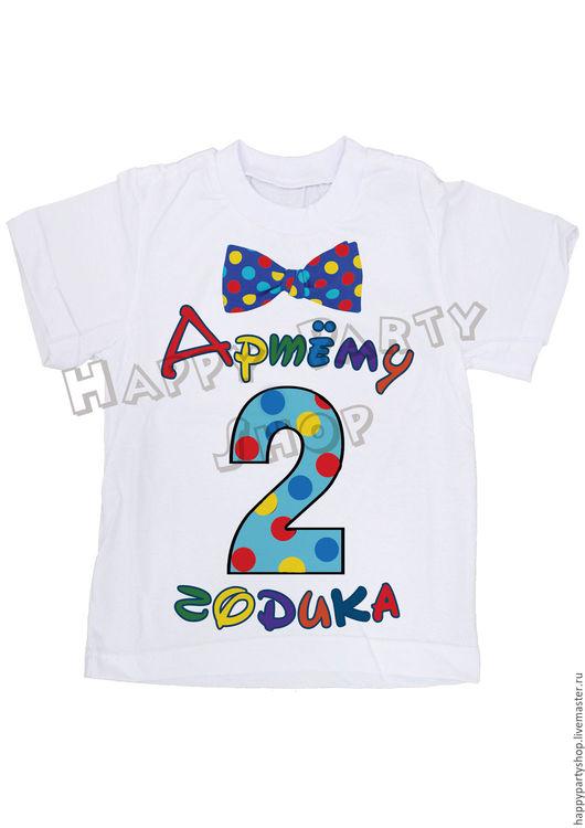 Одежда для мальчиков, ручной работы. Ярмарка Мастеров - ручная работа. Купить Именная футболка с галстуком на 2 годика.. Handmade. Белый