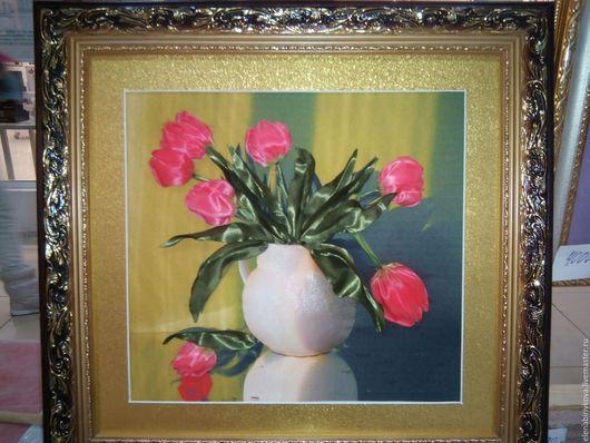 Картины цветов ручной работы. Ярмарка Мастеров - ручная работа. Купить Картина вышитая лентами. Handmade. Комбинированный, картина в подарок