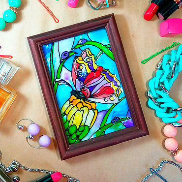 Для дома и интерьера. Ярмарка Мастеров - ручная работа Витражная картина с бабочкой на желтом цветке. Handmade.