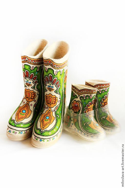 """Обувь ручной работы. Ярмарка Мастеров - ручная работа. Купить Комплект """"Весенний"""". Handmade. Комплект для мамы и дочки, валенки на подошве"""