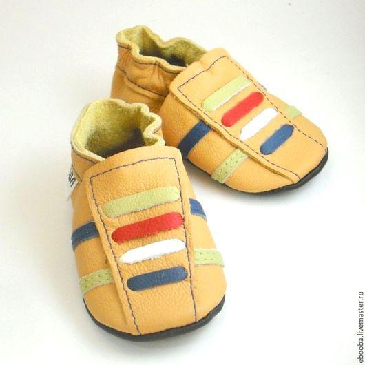 Кожаные чешки тапочки пинетки кроссовочки жёлтые разноцветные шнурочки ebooba