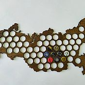 Копилки ручной работы. Ярмарка Мастеров - ручная работа Карта копилка для пивных крышек. Handmade.