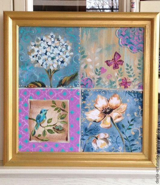Картины цветов ручной работы. Ярмарка Мастеров - ручная работа. Купить Винтажные цветы. Handmade. Комбинированный, цветы, винтаж