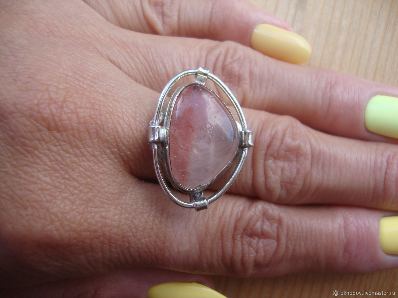 Кольцо с земляничным кварцем с включениями гетита 3, Кольца, Калуга,  Фото №1