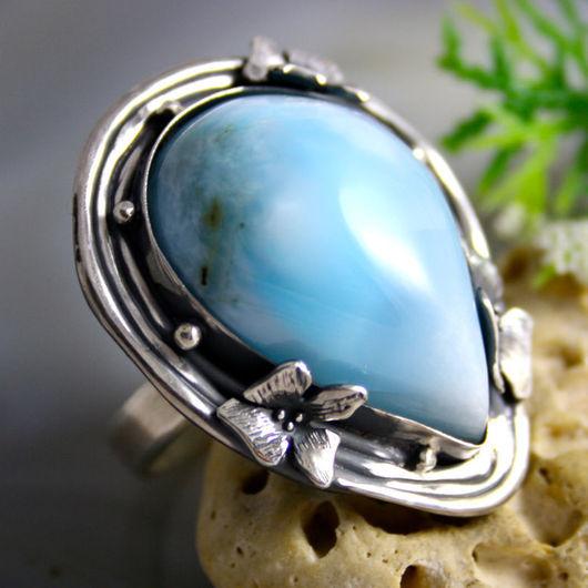 """Кольца ручной работы. Ярмарка Мастеров - ручная работа. Купить Кольцо """"Голубая Орхидея"""" - натуральный ларимар, серебро Ag 925. Handmade."""