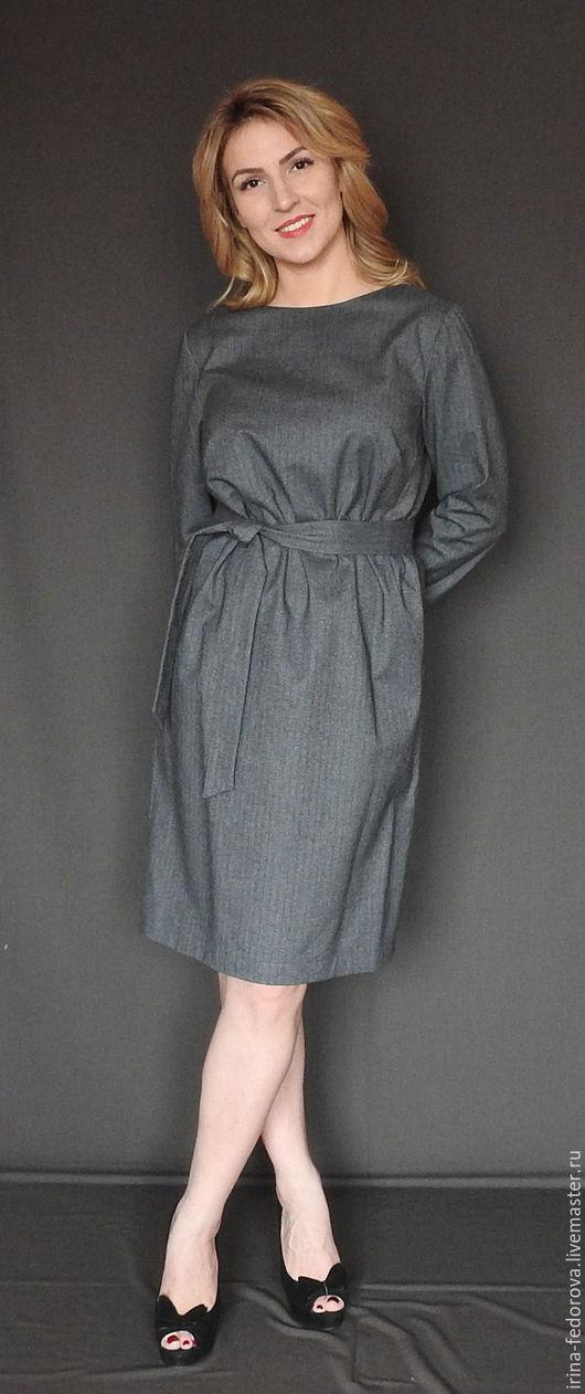 Платья ручной работы. Ярмарка Мастеров - ручная работа. Купить Платье серое. Handmade. Серый, платье для офиса, теплое платье