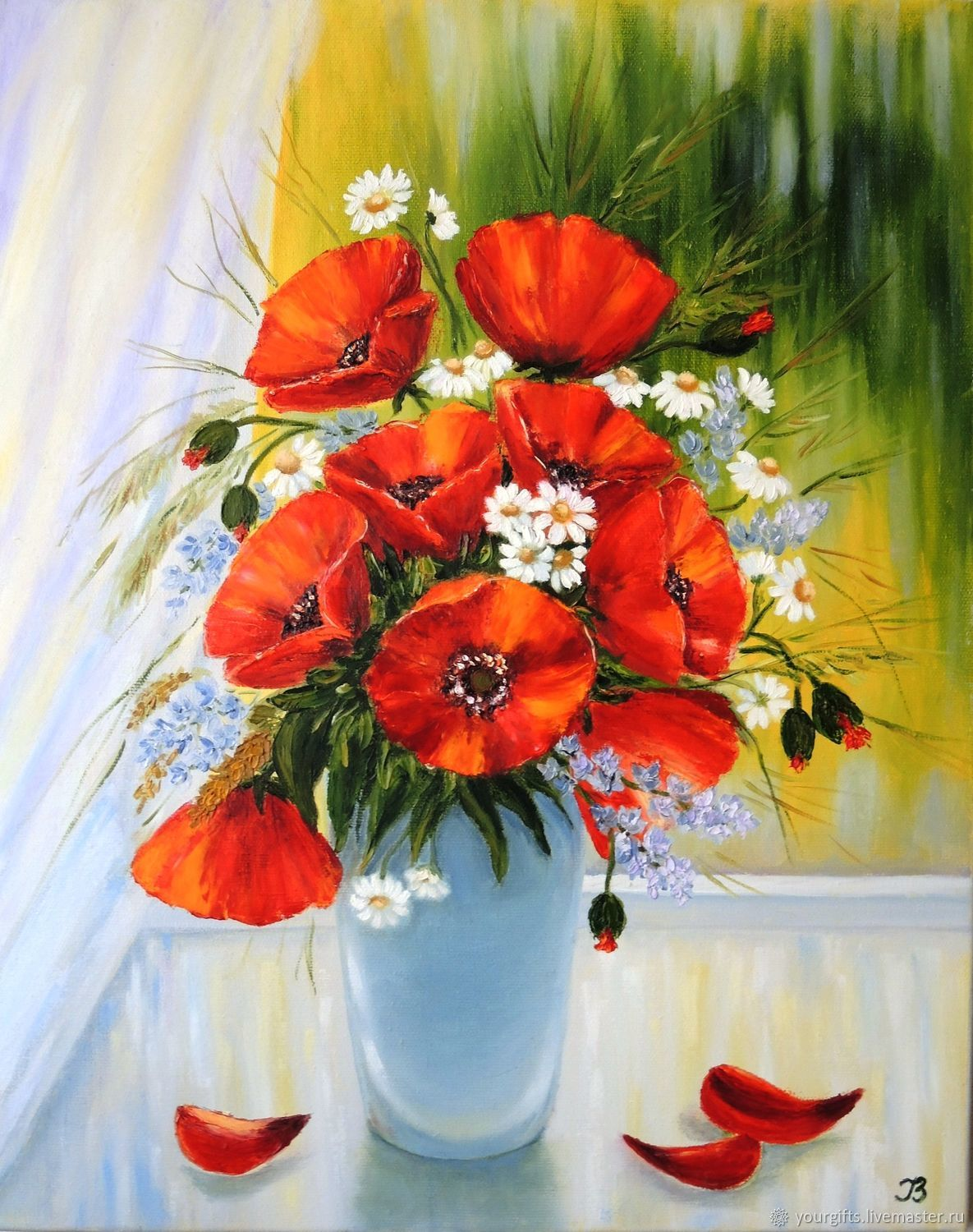 Poppies Near The Window Oil Painting Flowers In A Vase Shop