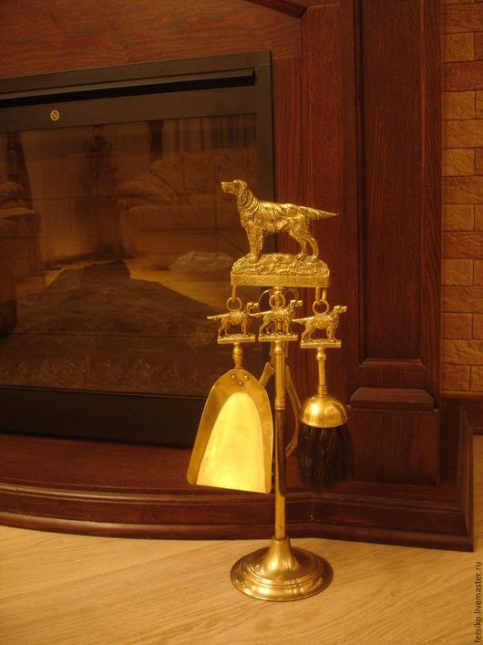 """Винтажные предметы интерьера. Ярмарка Мастеров - ручная работа. Купить Старинный каминный набор """"Английский сеттер""""!!!. Handmade. щёточка для камина"""
