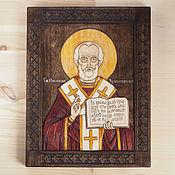 Картины и панно ручной работы. Ярмарка Мастеров - ручная работа «Святой Николай Чудотворец» - икона резная из дерева. Handmade.