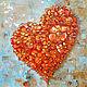 Золотой ключик- картина маслом, цветочное сердце, Картины, Находка,  Фото №1