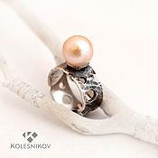 Украшения handmade. Livemaster - original item Pink cheese. Ring. Silver, pearl.. Handmade.