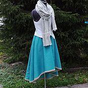 Одежда ручной работы. Ярмарка Мастеров - ручная работа №166.1 Льняная юбка с карманами. Handmade.