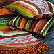 """Текстиль, ковры ручной работы. Комплект коврик с вышивкой и подушки """"Осени дары"""". Просто Счастье. Ярмарка Мастеров. Вязаный крючком"""