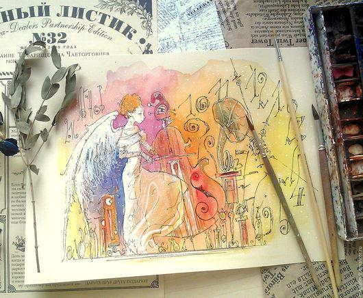 """Символизм ручной работы. Ярмарка Мастеров - ручная работа. Купить """"Хранительница времени"""". Handmade. Ангел, акварельная живопись, картина на кухню"""