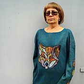 Одежда handmade. Livemaster - original item Dress felted on silk Fireflies Long sleeve wool dress with Fox. Handmade.
