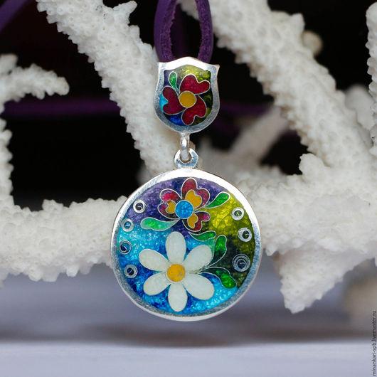 """Кулоны, подвески ручной работы. Ярмарка Мастеров - ручная работа. Купить Кулон """"Страна цветов"""" из серебра с эмалью. Минанкари. Handmade."""