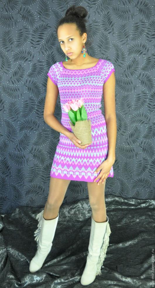 Платья ручной работы. Ярмарка Мастеров - ручная работа. Купить Платье с коротким рукавом из бамбука. Handmade. Фиолетовый, жаккардовое платье