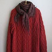 Одежда ручной работы. Ярмарка Мастеров - ручная работа Джемпер вязаный теплый красного цвета со жгутами из пряжи Италии. Handmade.