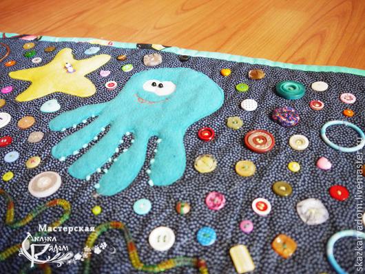 """Развивающие игрушки ручной работы. Ярмарка Мастеров - ручная работа. Купить Развивающий коврик """"Подводное царство"""". Handmade. Тёмно-синий"""