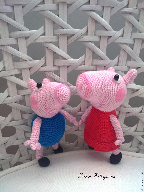 свинка пеппа и джордж игрушка вязаная купить в интернет магазине