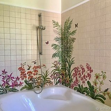 Diseño y publicidad manualidades. Livemaster - hecho a mano The painted tile Mural in the bathroom Orchids and hummingbirds. Handmade.