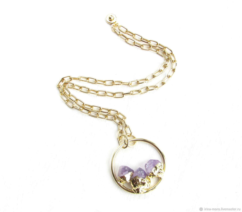 Purple amethyst pendant, round pendant, three stone pendant, Pendants, Moscow,  Фото №1