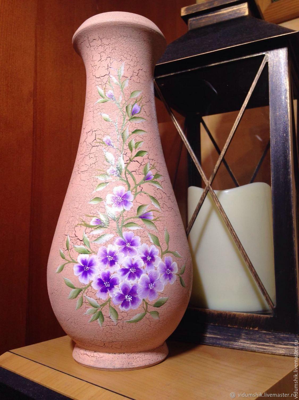 Ваза деревянная ручная роспись