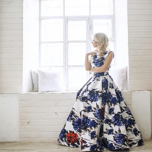 Платья ручной работы. Ярмарка Мастеров - ручная работа. Купить платье с цветочным принтом. Handmade. Цветочный, пышное платье, цветочное
