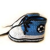 Работы для детей, ручной работы. Ярмарка Мастеров - ручная работа Пинетки кеды, пинетки вязаные, пинетки для малыша, голубой. Handmade.