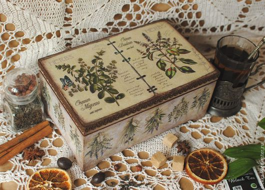 """Шкатулки ручной работы. Ярмарка Мастеров - ручная работа. Купить Чайная шкатулка """"Herbs"""". Handmade. Чайная коробка, шкатулка для мелочей"""